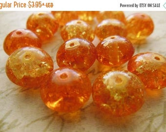 SALE 15% off Vintage glass beads (10+) hyacinth yellow orange cracked crackle bright rondelles Czech 12 x 8mm  (10+)