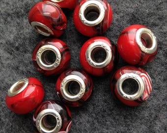 Bead lot /  10 silver and lampwork slider wide-hole beads in Red and Black