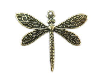 Antiqued Brass Dragon Fly Charms (4X) (M549-E)
