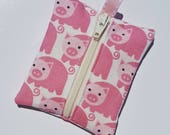 FREE SHIPPING UPGRADE with minimum - Tiny zipper pouch / earbud case / earbud pouch / coin pouch | Little Pink Pigs