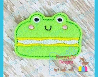 Frog Macaroon Feltie Machine Embroidery Digital File