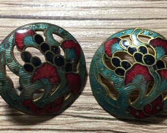 B67 Pair of metal enameled vintage buttons metal shank collectibles sewing jewelry making