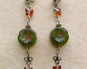 Sterling Silver Post Earrings, Green & Pink Flower, Caramel Swarovski Crystal Butterfly Earrings - Summer Morning  by enchantedbeads on Etsy