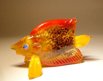 Handmade Blown Glass Art Figurine Orange & Red Fish with Blue Eyes