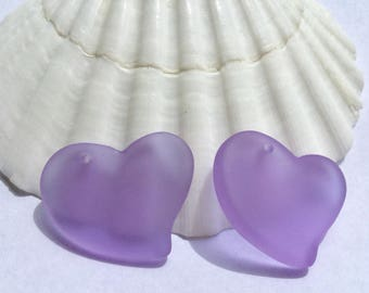 Sea glass heart ,30 mm periwinkle beach glass pendant , sea glass beads , beach glass pendant ,glass beads ,frosted sand glass, Seaglass