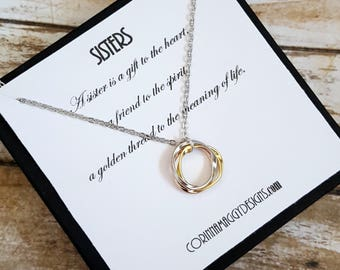 Sister Necklace / Inspirational Jewelry / Three Sisters Jewelry / Gift For Sister, Christmas Gift for Sister, Silver or Gold Sisters Jewelry