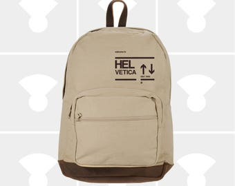 NEW Backpack. Helvetica Canvas Backpack with Leather Accents. Rucksack. Travel Bag. Men Backpack Women Backpack. FREE Shipping