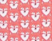Cotton + Steel Magic Forest - foxes coral - fat quarter