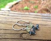 Prehnite and Moss Kyanite, Sterling Silver Gemstone Dangle Earrings - Handmade Jewelry - Blue Green - Shepherds Hook Earwires or Leverbacks