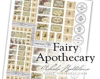 Fairy Apothecary Bottle Label Digital Collage Sheet PDF Download