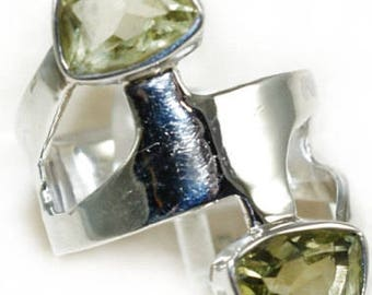 Sale: Lime Citrine Sterling Silver Wrap Ring Size 7