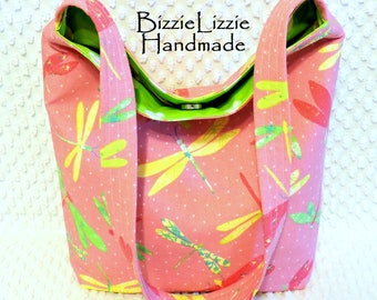 Dragonflies Fabric Purse, Handmade Shoulder Bag in Pink and Green