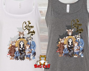 CATTAMS FAMILY TANK Top  Cats playing Addams Family cat tank.  Cat Lover Tank Top. Cat Lover Gift.