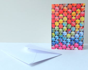 "Printed Art Card - ""Tumbling Blocks"" Quilt Image - Patchwork Image - Greetings, Birthday, Thank You, Blank"