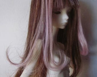 Carmel with pink streaks Curly wig for Doll Chateau Bella and like-sized dolls 6/7 bjd