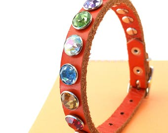 Orange Leather Dog Collar with Jewel Tone Rhinestones, Size XS/S, to fit a 8-11in Neck, Little Dog, Tiny Dog Collar, EcoFriendly, OOAK