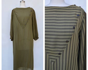 new wave dress / stripes puff sleeve dress / medium - large
