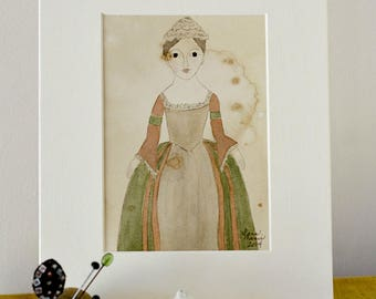 Queen Anne Doll Original Watercolor No. 3 by Lana Manis, Early American, Primitive, Folk Art, Ready to Frame
