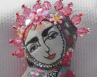 art cloth doll pincushion
