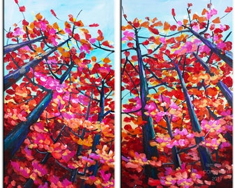 Sale Red Maple art Autumn landscape painting acrylic painting, original large canvas 48x48 Abstract painting by Tim Lam