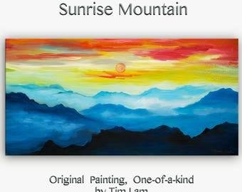 Sale Mountain skyline Oil Painting,Original Abstract Painting blue skyline Landscape Painting Rising Sun by tim lam 48x24x1.3