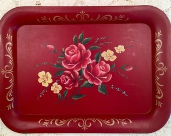 Vintage Toleware Tray - Painted Tole Platter - Red Roses - Metal Painted Toleware Tray