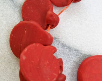 Red/Orange Vintage African Coin Beads