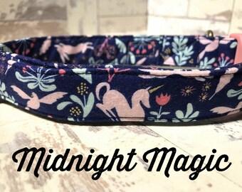 "Modern & Whimsical Dark Blue Unicorn Bunny Floral Dog Collar - Antique Metal Hardware - ""Midnight Magic"""