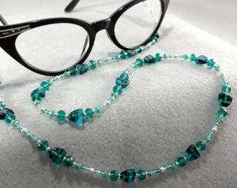Teal and Black Eyeglasses/Reading Glasses Chain