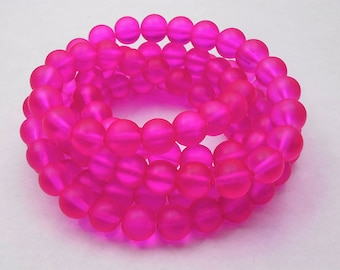 50 Hot Pink Matte Sea Glass Beads 8mm frosted beach glass round (H5020)