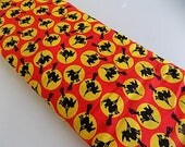 Vintage Cotton Halloween Witch and Moon Fabric Yardage - over 4 yards