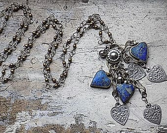 FREE SHIPPING Vintage Blue Lapis Heart Stone Chain Necklace