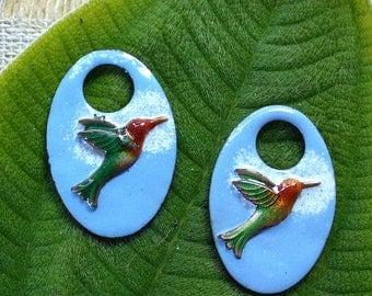 Enameled Copper Components/earring pair/enamel /copper/hummingbird/