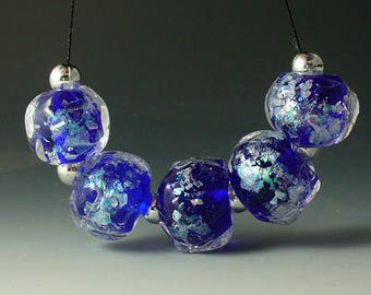 Lampwork beads/SRA lampwork/beads/dichroic/cobalt/nugget/encased/