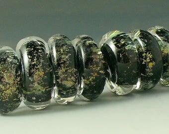 Lampwork beads/SRA lampwork/beads/dichroic/black and gold/disks/