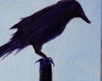 Bird Silhouette, Raven Crow, 4x4 Canvas, Original, Oil Painting, Blue Black, Small Feathered Creature, Nature, Little Square, Tiny Animal