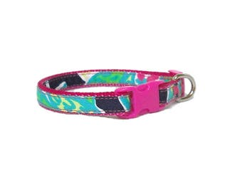 SALE ~ Dog Collar Made from Lilly Pulitzer Navy Trunk Show Fabric ~ XS Only