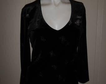 90s grunge butterfly print black velvet top blouse