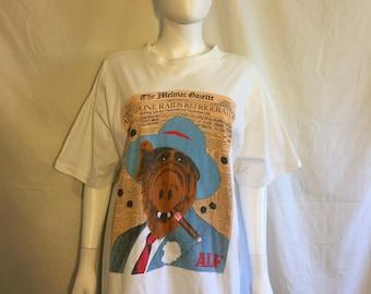 80s ALF White T-Shirt, ALF Capone funny cute t shirt  Rare Vintage