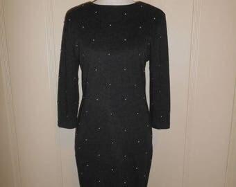 Closing Shop 40%off SALE Vintage dress 80's studded long sleeve dress   grey gray