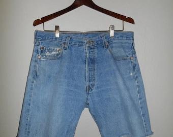 Closing Shop 40%off SALE Levis 501 Levis button fly shorts cutoffs cut offs  waist W 34