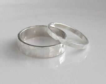 Sterling Silver Wedding Ring Set, Hammered Wedding Rings, Sterling Silver Rings His and Hers Rings, Sterling Silver Wedding Bands, Valentine