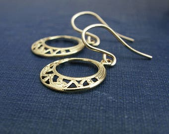Gold Filigree Earrings, Jewelry Gift for Her, Gold Circle Earrings, Gold Hoop Earrings, Gold Earrings, Ready to Ship Jewelry