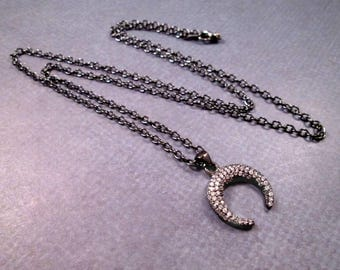 Horn or Crescent Moon Necklace, White Crystal Rhinestone Pave Pendant, Gunmetal Silver Chain Necklace, FREE Shipping