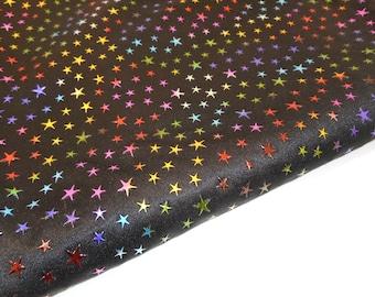 Black Knit Fabric with Metallic Stars, Rainbow Star Fabric