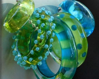 Set of 5 Assorted Handmade Lampwork Glass Ring Beads with FREE Chain