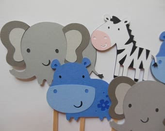 Safari or Zoo Animal Cupcake Toppers - Elephants, Hippos and Zebras - Birthday Decorations - Gender Neutral - Baby Showers - Set of 6