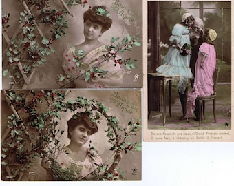 Anitque Postcard,French Canadian,Shawinigan,Set of Three,Quebec.Collectibles,Rare,Vintage Paper Goods,Boho Chic,Home Deco.Romantic.Floral