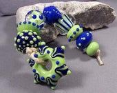 Handmade Lampwork Beads by Monaslampwork - Blue and Green - Handmade Lampwork Beads by Mona Sullivan Boho Gypsy Organic Ancient Boho Sassy
