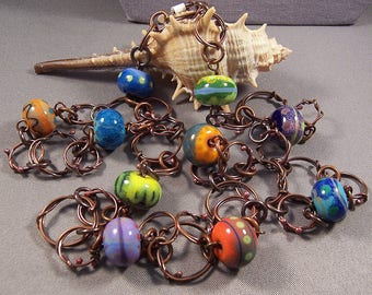 Handmade Copper and Lampwork Bead Necklace - Hand Forged Copper Components and Handmade Lampwork Beads One of a Kind Necklace Boho Gypsy